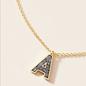 Anthropologie Crushed Diamond Initial Necklace A